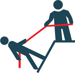 Icon of person pulling another up with a rope